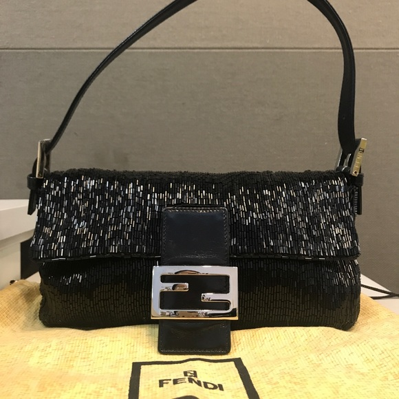 81a1522b7869 Fendi Handbags - Authentic vintage Fendi black beaded baguette bag